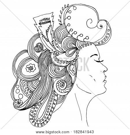 Portrait of pretty young woman in profile view with long beautiful hair with flowers. Vector illustration Can be used as adult coloring book, coloring pages, card invitation.