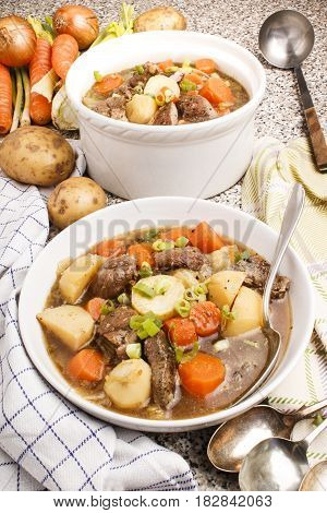 home made traditional irish lamb stew with potato carrot celery and spring onion in a deep plate and terrine