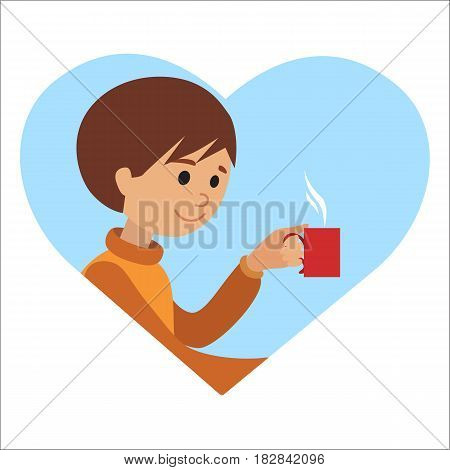 Youn man with cup in his hand drinking hot coffee. Vector illustration icon in heart isolated on white background.