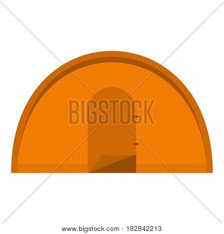 Orange tourist tent icon flat isolated on white background vector illustration