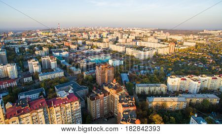 Aerial view of city Ufa from traffic, buildings, river, forest
