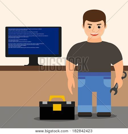 computer repair. young male technician repairing computer. vector illustration.