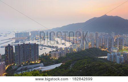 Hong Kong Tuen Mun downtown at sunset