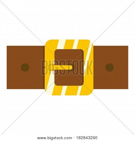Brown leather belt with gold square buckle icon flat isolated on white background vector illustration