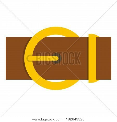 Brown belt with a gold round buckle icon flat isolated on white background vector illustration