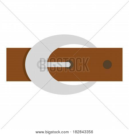 Brown elegant leather belt with silver buckle icon flat isolated on white background vector illustration