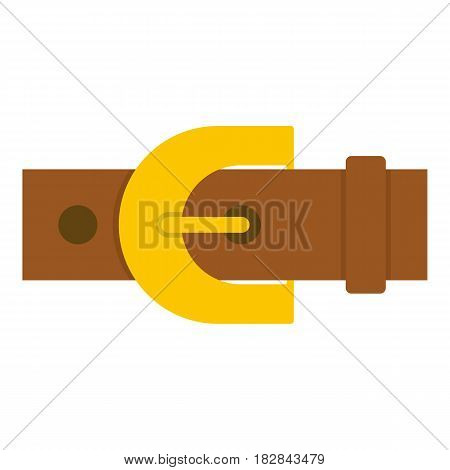Brown elegant leather trousers belt icon flat isolated on white background vector illustration