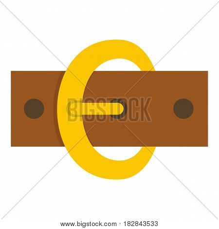 Gold oval buckle icon flat isolated on white background vector illustration