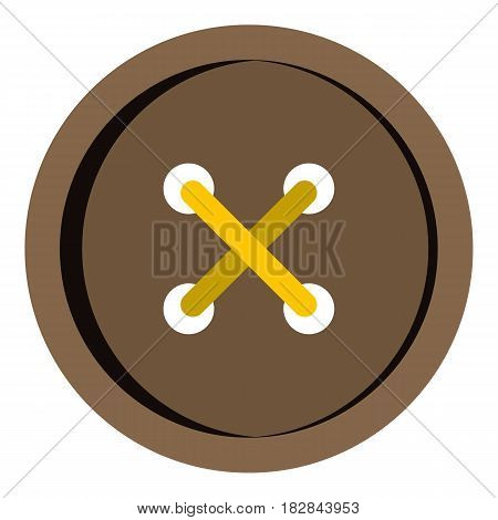 Brown clothing button icon flat isolated on white background vector illustration