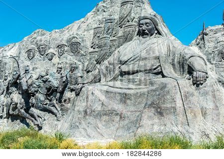 Inner Mongolia, China - Aug 10 2015: Kublai Khan Statue At Site Of Xanadu (world Heritage Site). A F