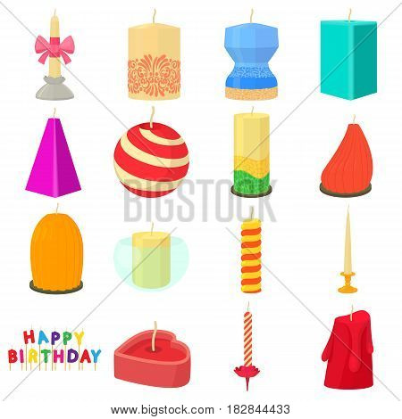 Candle forms icons set. Cartoon illustration of 16 candle forms vector icons for web