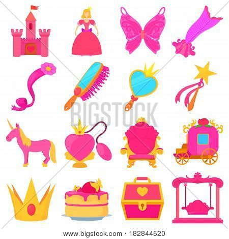 Princess accessories icons set. Cartoon illustration of 16 princess accessories vector icons for web