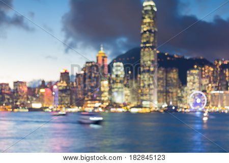 Hong Kong city blurred bokeh light business downtown abstract background