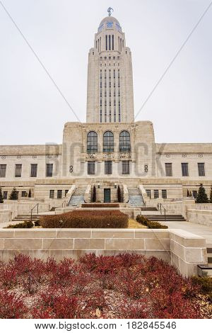 Lincoln Nebraska - State Capitol Building. Lincoln Nebraska USA.