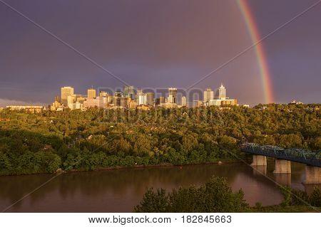 Huge Rainbow over Edmonton. Edmonton Alberta Canada.