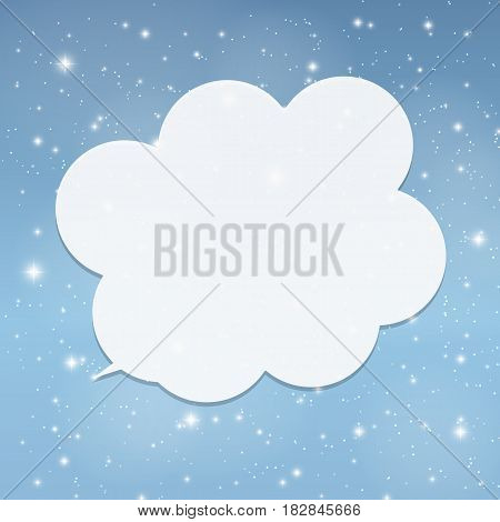 Speech Bubble with Sample Text against Abstract Glossy Star Sky Vector Illustration Background EPS10