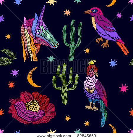 Seamless vector pattern with embroidered texture. Retro textile collection.