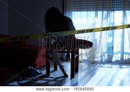 crime scene simulation, young girl lying dead
