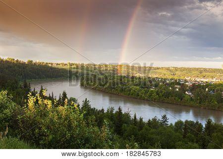 Rainbow over North Saskatchewan River. Edmonton Alberta Canada.