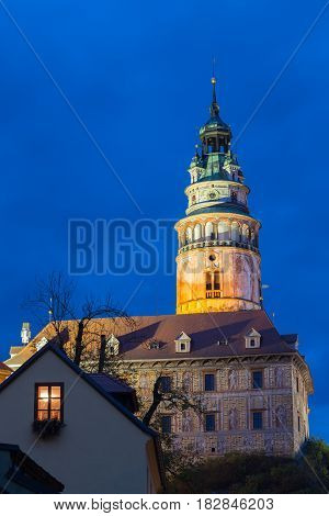 Beautiful night view to castle tower in Cesky Krumlov, Czech republic. UNESCO World Heritage Site