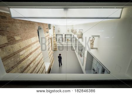 VERONA, Italy - April 04, 2017: Amphitheater of the Teatro Romano in Verona, Italy, view of the museum