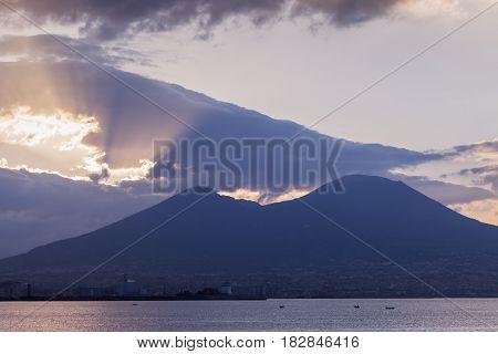 Panorama of Naples with Vesuvius at sunrise. Naples Campania Italy.