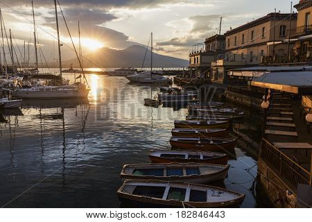 Panorama of Naples and Vesuvius at sunrise. Naples Campania Italy.
