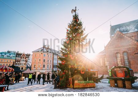 Riga, Latvia - December 1, 2016: Christmas Market On The Dome Square In Riga, Latvia. Christmas Tree And Trading Houses With Sale Of Christmas Gifts, Sweets And Mulled Wine.