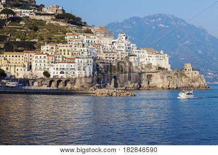 Architecture of Amalfi at sunset. Amalfi Campania Italy.
