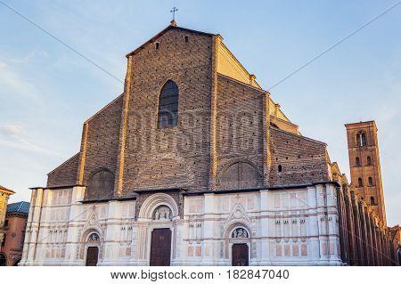 Bologna Cathedral on Piazza Maggiore in Bologna. Bologna Emilia-Romagna Italy.