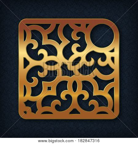 Oriental style laser cutting. Ornamental or decorative item for attaching to the keychain.