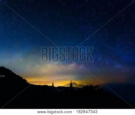 long exposure shot image of milky way stars on mountain at King and Queen Pagodas Doi Inthanon National ParkChiangmai Thailand.(high iso photo with high level noise reduction)