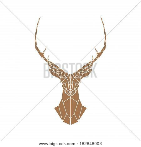 Polygonal brown deer with horns on a white background. Vector illustration.