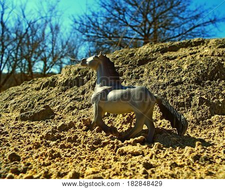 Toy horse on the background of nature looks just like a living