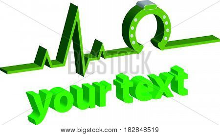 3D ECG with horse shoe on white background. Vector illustration