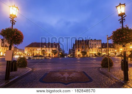 Gniezno Main Square at night. Gniezno Greater Poland Poland.