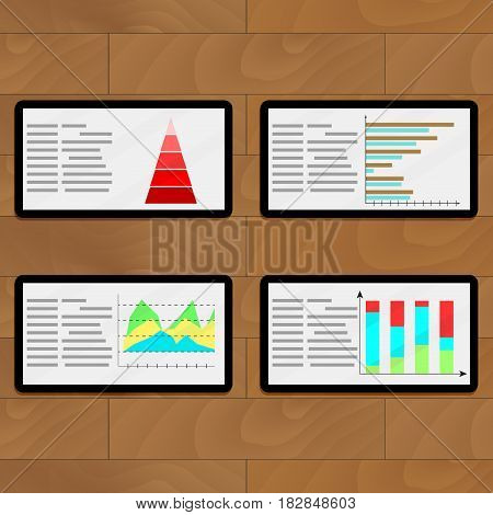 Statistical file on tablets. Economic layer infographic report vector illustration
