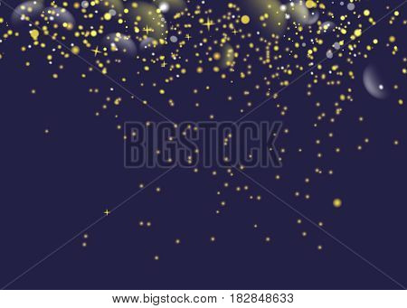 glittering golden star dust trail sparkling particles. Space comet tail. Vector glamour fashion illustration