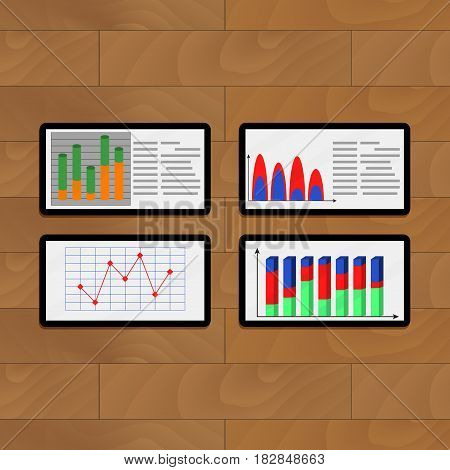 Infochart annual on tablets. Vector business chart on computer illustration