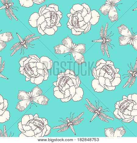 Insects and peony seamless pattern, flying butterfly and dragonfly entomology elements in line art style on light blue background, vector illustration, doodle sketch for elegant lady design