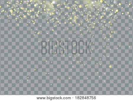 glittering star dust trail sparkling particles on transparent background. Space comet tail. Vector glamour fashion illustration