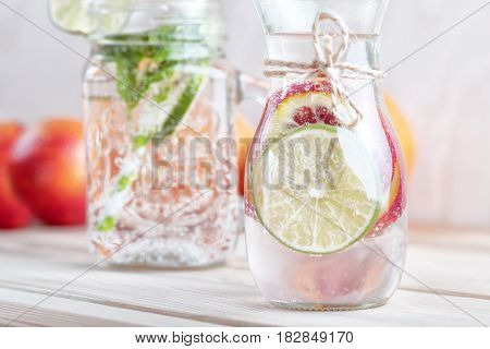 Detox Water. Refreshing summer detox cocktail. Detox water with lime.