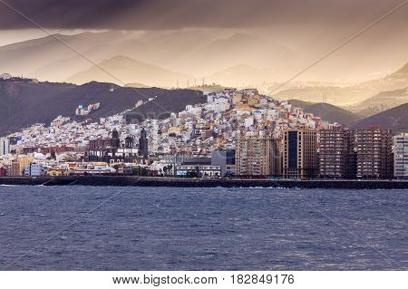 Panorama of Las Palmas from the sea. Gran Canaria Canary Islands Spain.