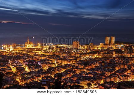 Panorama of Santa Cruz de Tenerife. Gran Canaria silhouette in the background. Santa Cruz de Tenerife Tenerife Spain.