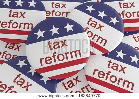 USA Politics News Badge: Pile of Tax Reform Buttons With US Flag 3d illustration