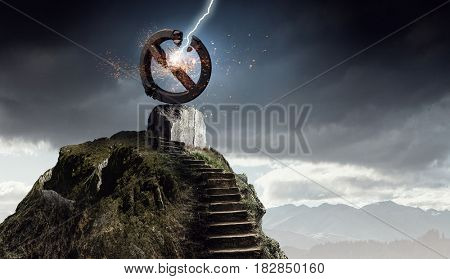 Destructed forbidden symbol . Mixed media