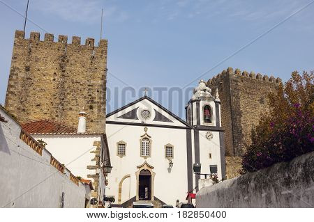Church in Old Town of Obidos Portugal. Obidos Centre Portugal.