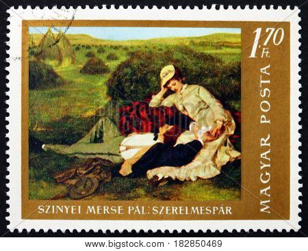 HUNGARY - CIRCA 1967: a stamp printed in Hungary shows The Lovers Painting by Pal Szinyei Merse Hungarian Painter circa 1967