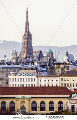 Vienna panorama with St. Stephen's Cathedral. Vienna Austria.