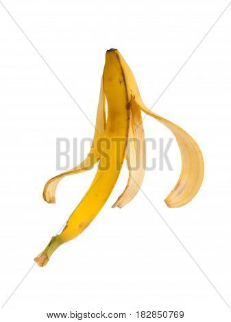 Slippery banana skin isolated on a white background